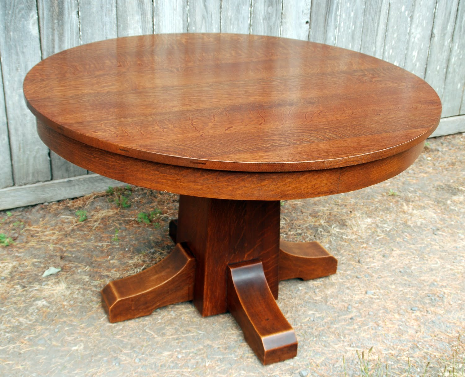 Round Oak Dining Table Part - 21: Original L. U0026 J. G. Stickley 42 Inch Dining Table With 4 Original Leaves,  Signed