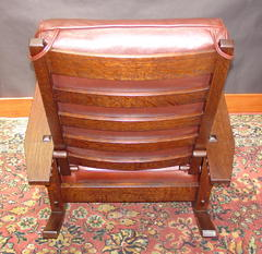"Curved steam-bent back slats and hand-turned adjusting pegs, accurate replication of Gustav Stickley mid-period adjusting peg system and chair back hand-turned ""axle and spacer""."