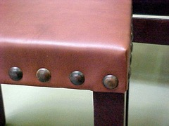 Close-up leather seat.