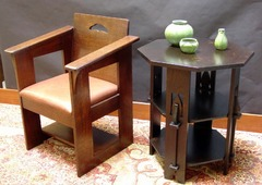 Chair shown with replica Rohlfs table.