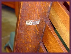 "Signed under the arm with the decal used from 1912 to 1918 which reads: ""The Work of L.&J.G. Stickley""."