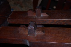 Detail two of the four keyed through tenons.