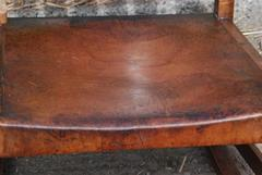 Image of the rich patina of the original leather.