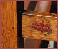 "Close-up of the L.&J.G. Stickley clamp mark used circa 1906 to 1912.  ""L.&J.G. Stickley, Handcraft"""