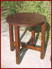 Additional image of lamp table in a lighter stain.