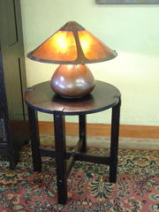 Shown with Aurora Studios Hand Hammered Copper and Mica Gourd Lamp.
