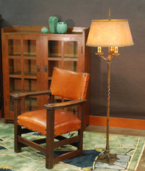shown with large early Limbert clip corner arm chair.