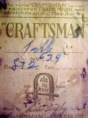 Close-up Gustav Stickley Craftsman paper label.