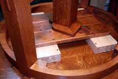 Our own proprietary heavy maple dovetailed table glides.  Just like the glides Gustav Stickley used, you can't buy glides like this on the open market.  ( Shown on the underside of the round version of this table ).