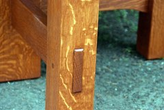 Detail true through tenon pinned with oak dowel.