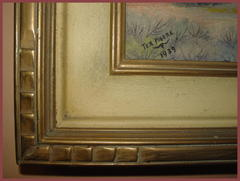 "Detail frame corner and the artist signature: ""Tex Moore"", 1939 and his steer skull mark."