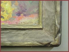 "Detail of carved frame corner and artist's signature, lower right corner: ""Paul T. Sargent""."
