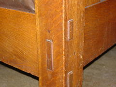 Detail through-tenon construction on front leg.