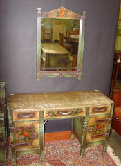 Dressing table shown with matching mirror.