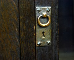 Detail hand hammered copper hardware.