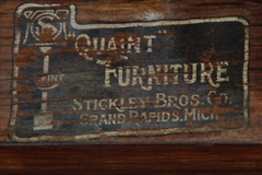 "Stickley Brothers decal makers mark: ""Quaint Furniture Co., Stickley Bros. Co., Grand Rapids, Mich."""