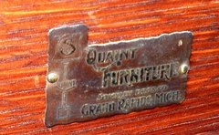 "Stickley Brothers brass plaque signature/makers mark: ""Quaint Furniture, Stickley Bros. Co., Grand Rapids, Mich."""