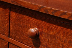 Hand-turned accurate replica of original Gustav Stickley oak knob.