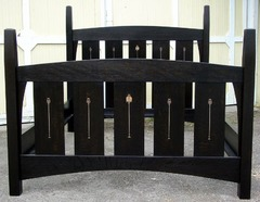 Queen Inlay Bed with Ebony finish.  Available in numerous stain colors and custom sizes.