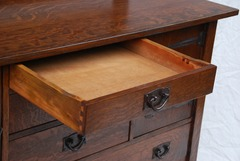 "Upper center drawer extended to show original ""ooze leather""."