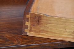 Gustav Stickley branded signature on edge of drawer. Circa 1912 to 1916.