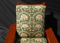 View of Arts & Crafts style quality fabric.  This image is the closet match to the true color of the fabric and chair.