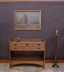 Shown with an also very rare and early L.& J.G. Stickley electrified candle stand.