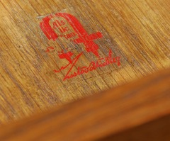Gustav Stickley signature red decal inside drawer,  used 1905 to 1912.
