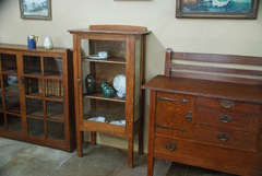Shown between Gustav Stickley sideboard and Stickley Brothers bookcase.