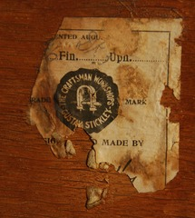 Gustav Stickley Eastwood paper label signature circa 1905-1907.