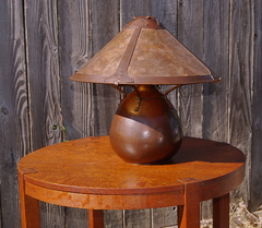 For scale, shown with large four light socket Dirk Van Erp lamp with vented cap.