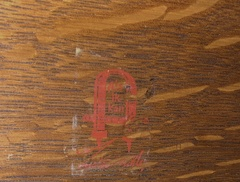 Gustav Stickley red decal signature inside of back. Circa 1905 - 1912.