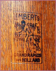"Branded signature under the table top reading: ""Limbert's Arts & Crafts Furniture, Made in Grand Rapids and Holland"" (Michigan)"