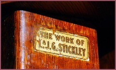 "Decal signature: ""The work of L.& J.G. Stickley"", circa 1912 to 1916."
