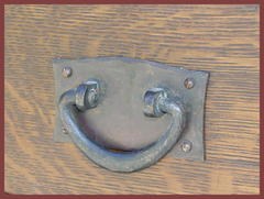 Original hand-hammered copper drawer pull with it's original patina.