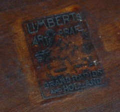 "Close up Limbert signature brand.  ""Limbert's Arts and Crafts...made in..Grand Rapids & Holland...""(Michigan)"