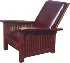 Gustav Stickley Inspired Slant Arm Spindle Reclining Morris Chair