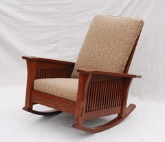 Gustav Stickley Inspired Medium Size Custom Slant Arm Spindle Reclining Morris Rocker in Fabric