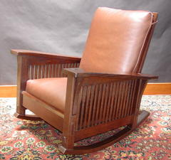 Gustav Stickley Inspired Medium Size  Custom Slant Arm Spindle Reclining Morris Rocker