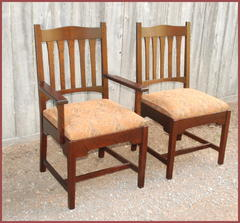 "Replica Gustav Stickley early ""Bungalow"" dining arm chair and side chair."