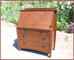 ...(ITEM RETIRED)...   Custom Arts & Crafts Oak Drop Front Desk with Pewter, Copper and Curly Maple Inlay