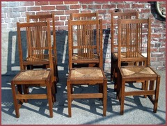 Very Rare Set of Six Gustav Stickley Spindle Dining Chairs