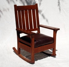 Early Gustav Stickley Rocking Chair, original finish, signed large early red decal Stickley in rectangle 1901 to 1903