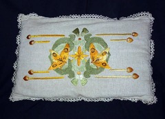 Extra Large Vintage Arts and Crafts Pillow with Butterfly Design