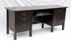 Voorhees Craftsman Workshops custom executive computer desk in ebonized oak