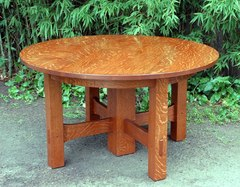 Gustav Stickley Oak Stretcher Base Dining Table Accurate Replica