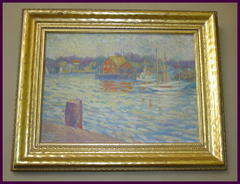 Vintage Impressionist Oil Painting of Sailboats and Boathouse on Artist Board, Signed B. N. Riley