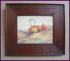 Original Water Color Painting in Oak Arts and Crafts Frame by Listed Artist: Florence A. Bradley