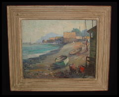 Original Oil On Canvas Titled: China Camp 3  Anton H. Dahl