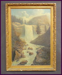Large Landscape Oil Painting on Wood, Vernal Falls Viewed from alongside Merced River, Yosemite Nati